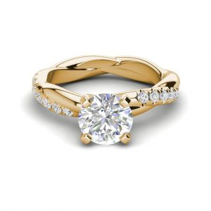 Twist Rope Style 1.75 Carat VS2 Clarity F Color Round Cut Diamond Engagement Ring Yellow Gold 3