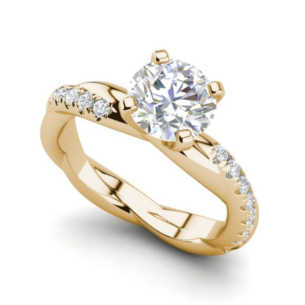 Twist Rope Style 1.75 Carat VS2 Clarity F Color Round Cut Diamond Engagement Ring Yellow Gold