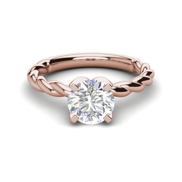 Twist Solitaire 0.9 Carat SI1 Clarity D Color Round Cut Diamond Engagement Ring Rose Gold 3
