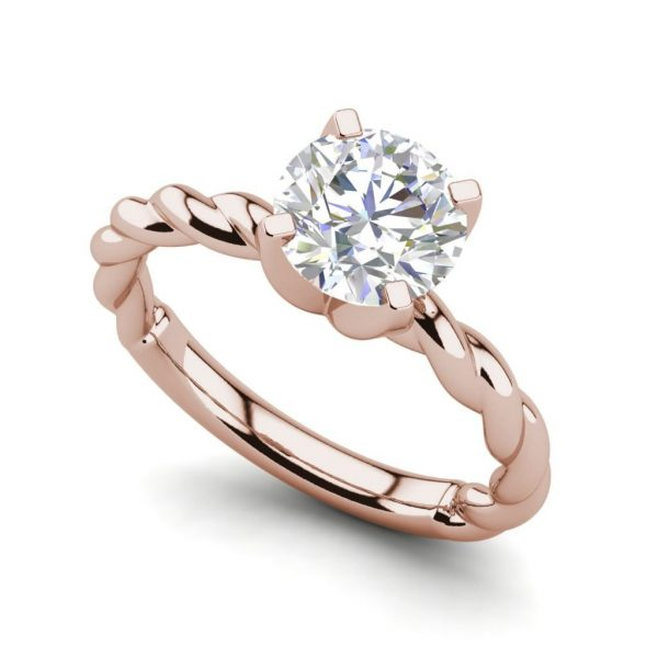 Twist Solitaire 0.9 Carat SI1 Clarity D Color Round Cut Diamond Engagement Ring Rose Gold