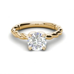 Twist Solitaire 0.9 Carat SI1 Clarity D Color Round Cut Diamond Engagement Ring Yellow Gold 3