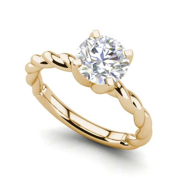 Twist Solitaire 0.9 Carat SI1 Clarity D Color Round Cut Diamond Engagement Ring Yellow Gold