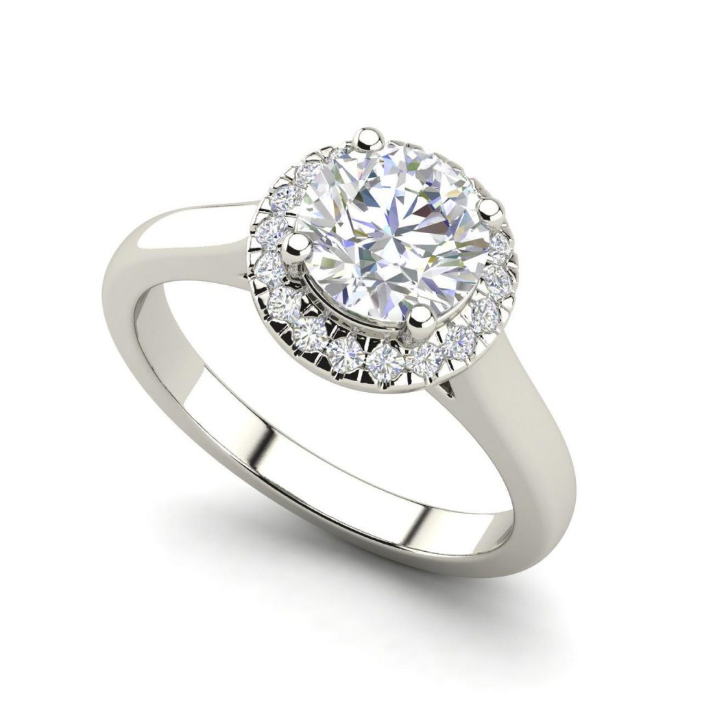 1.15 Carat Halo Solitaire Diamond Engagement Ring