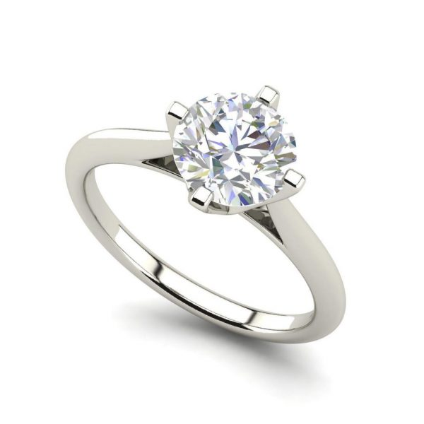 4 Claw Solitaire 0.5 Carat Round Cut Diamond Ring