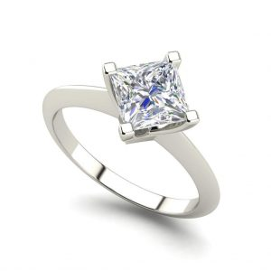 4 Prong 0.5 Carat Princess Cut Diamond Engagement Ring White Gold