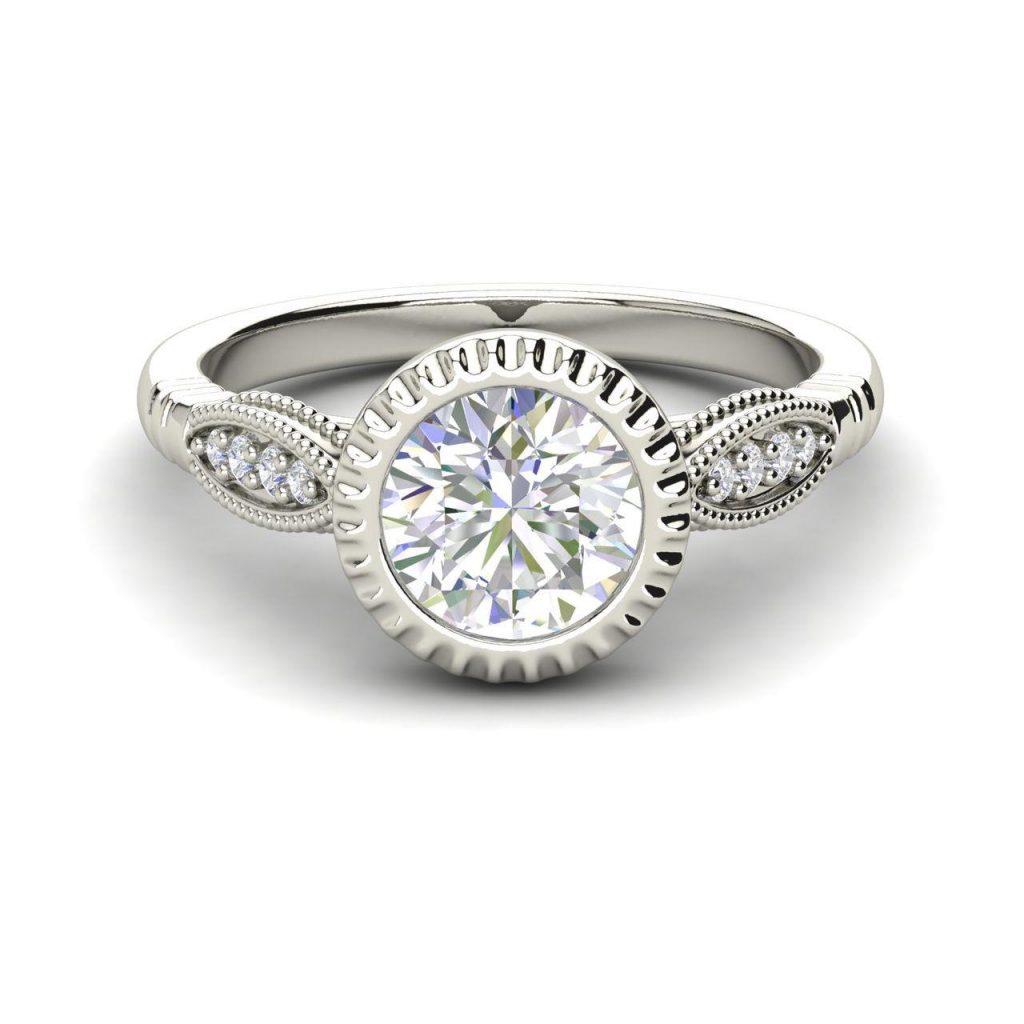 Bazel Shared Prong 0.65 Carat Round Cut Diamond Engagement Ring