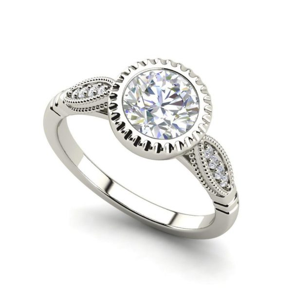 Bazel Shared Prong 0.65 Carat Round Cut Diamond Engagement Ring