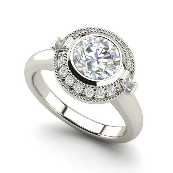 Bezel Halo 0.7 Carat Round Cut Diamond Engagement Ring