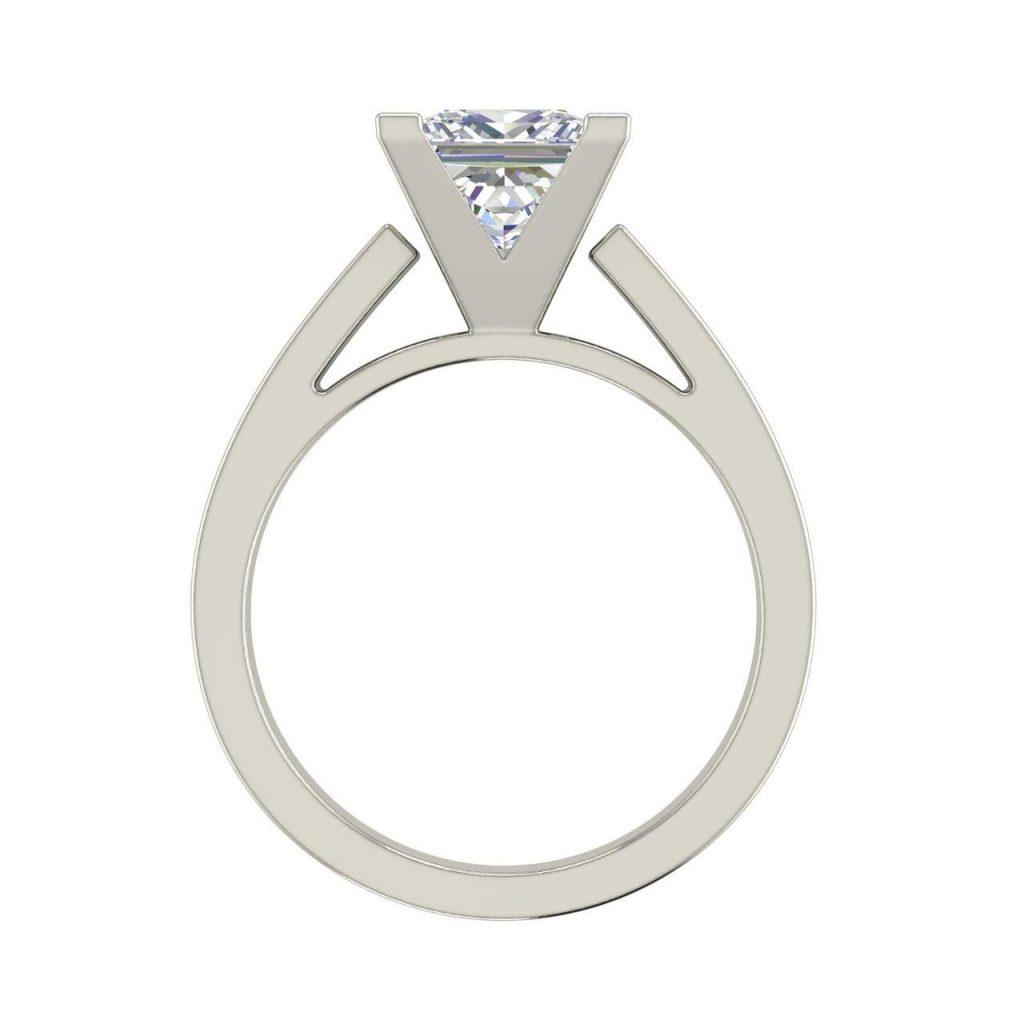 Cathedral 0.75 Carat Princess Cut Diamond Engagement Ring White Gold