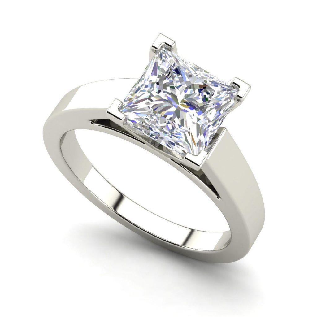 Cathedral 0.9 Carat Princess Cut Diamond Engagement Ring White Gold