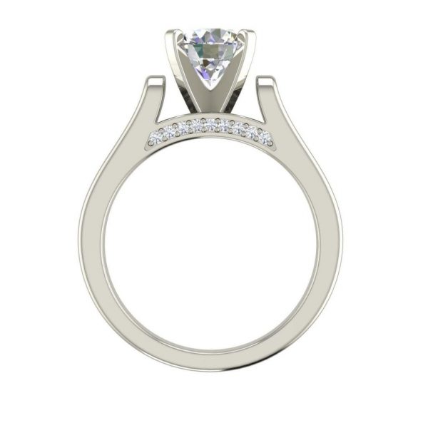 Cathedral Solitaire 0.6 Ct Round Cut Diamond Engagement Ring 1