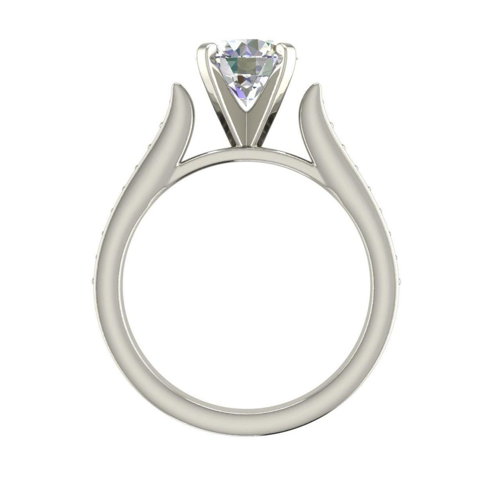 Channel 1 Carat Round Cut White Gold Diamond Engagement Ring 1