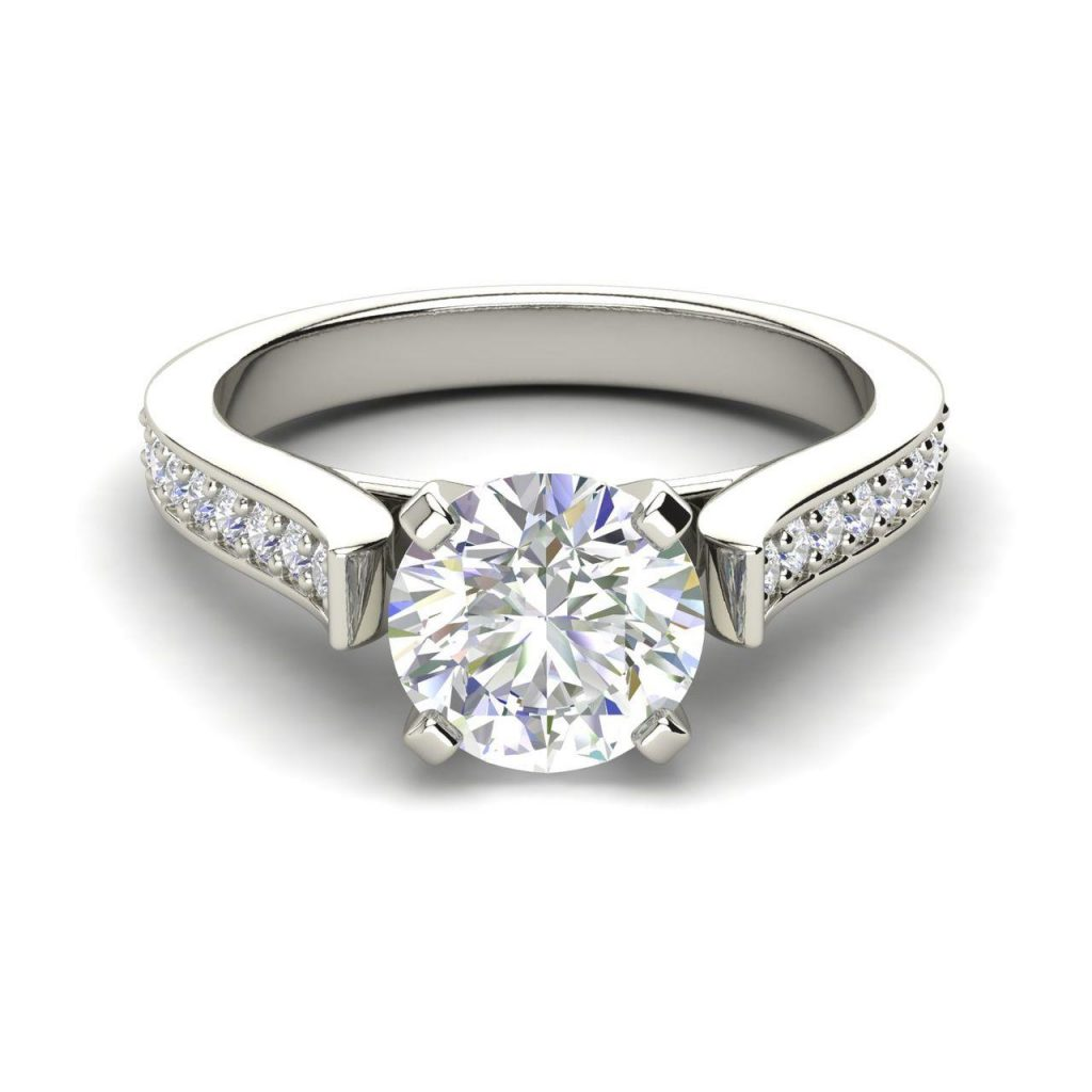 Channel 1 Carat Round Cut White Gold Diamond Engagement Ring