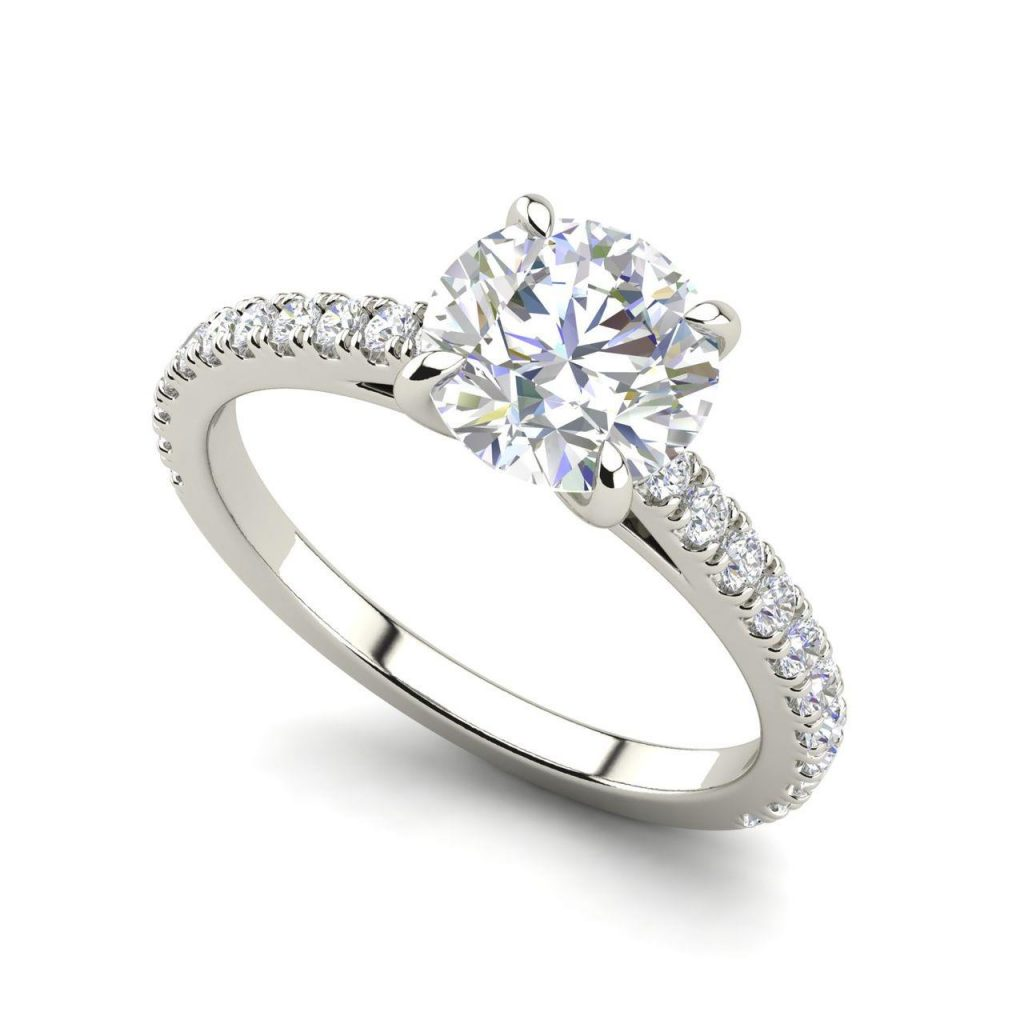Classic 4 Prong 0.9 Carat Round Cut Diamond Engagement Ring