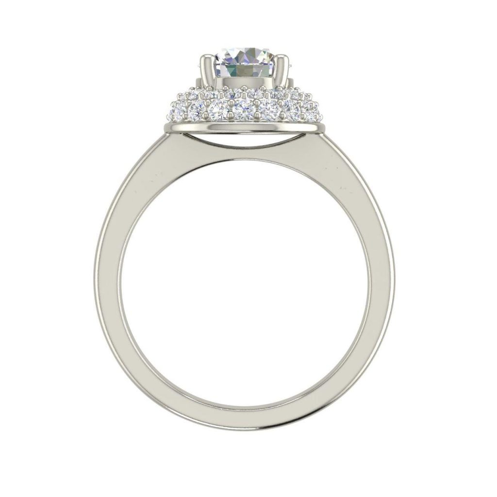Double Halo Solitaire 1.2 Carat Round Cut Diamond Engagement Ring
