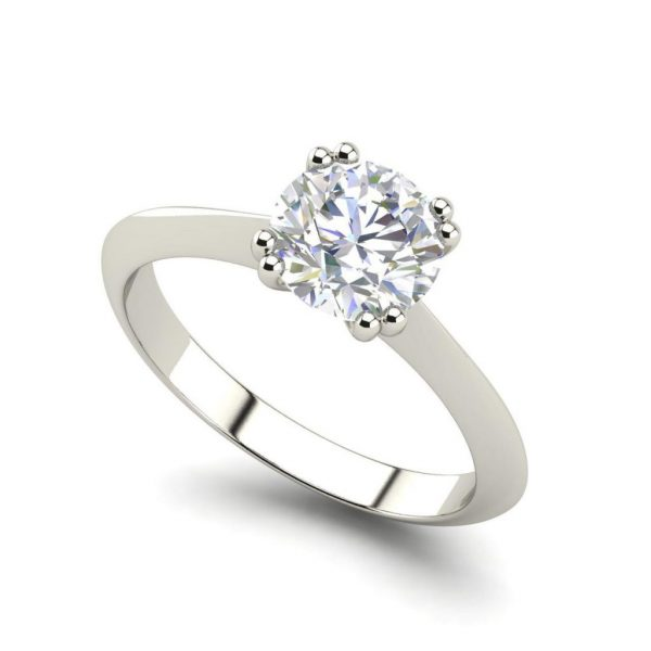 Double Prong 0.5 Carat Round Cut White Gold Diamond Engagement Ring
