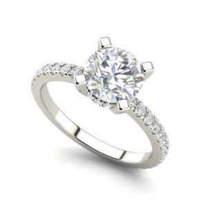 French Pave 0.75 Carat Round Cut White Gold Diamond Engagement Ring