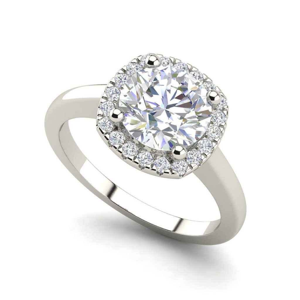 Halo 1 Carat Round Cut White Gold Diamond Engagement Ring