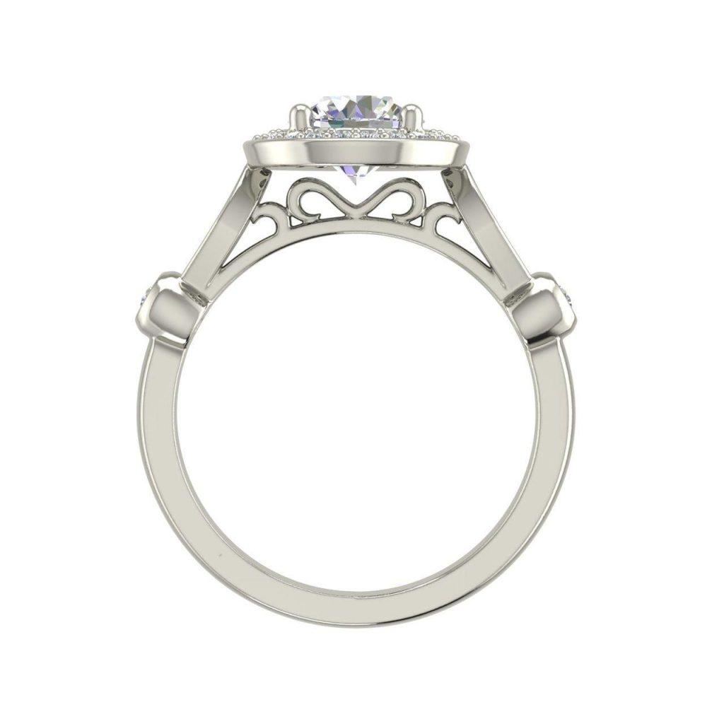 Halo 1.6 Carat Round Cut Diamond Engagement Ring 1 1