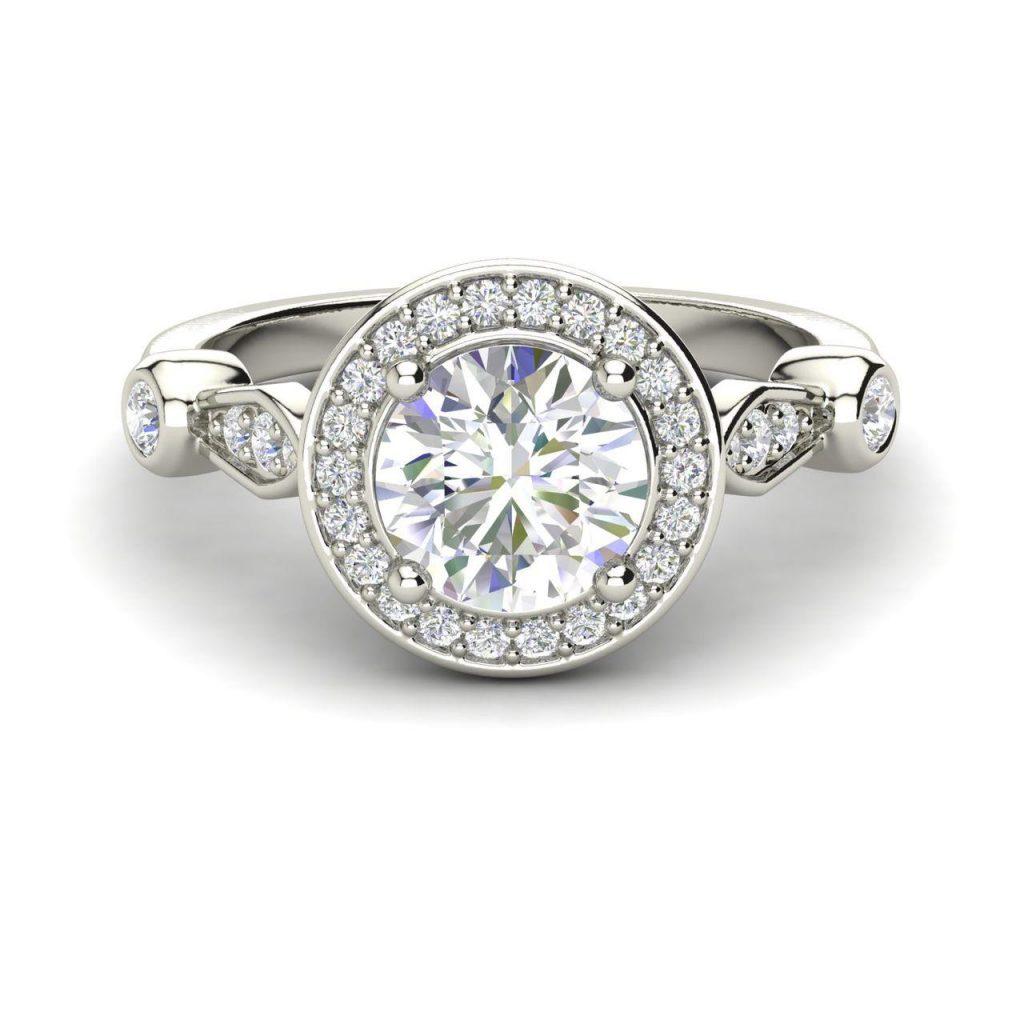 Halo 1.6 Carat Round Cut Diamond Engagement Ring