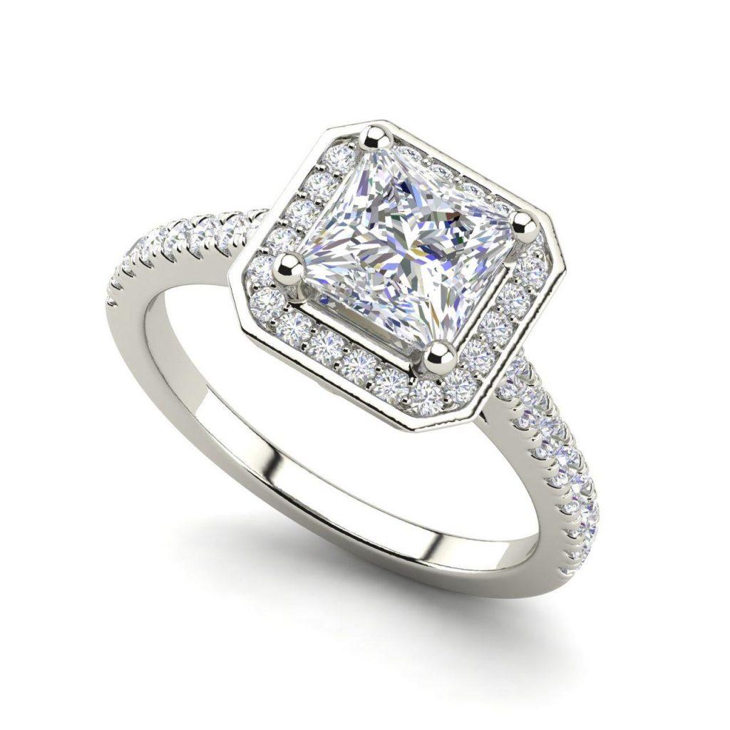 Halo Pave 1.2 Carat Princess Cut Diamond Engagement Ring White Gold