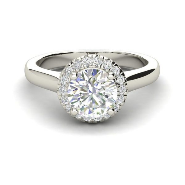 Halo Solitaire 1.15 Carat Round Cut White Gold Diamond Engagement Ring