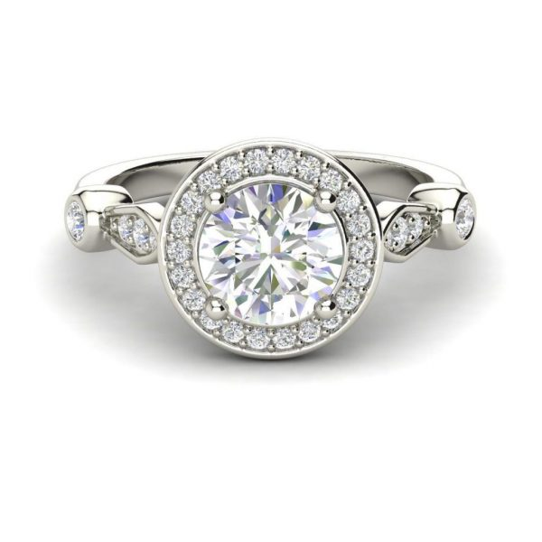 Halo Solitaire 1.45 Carat Round Cut Diamond Engagement Ring