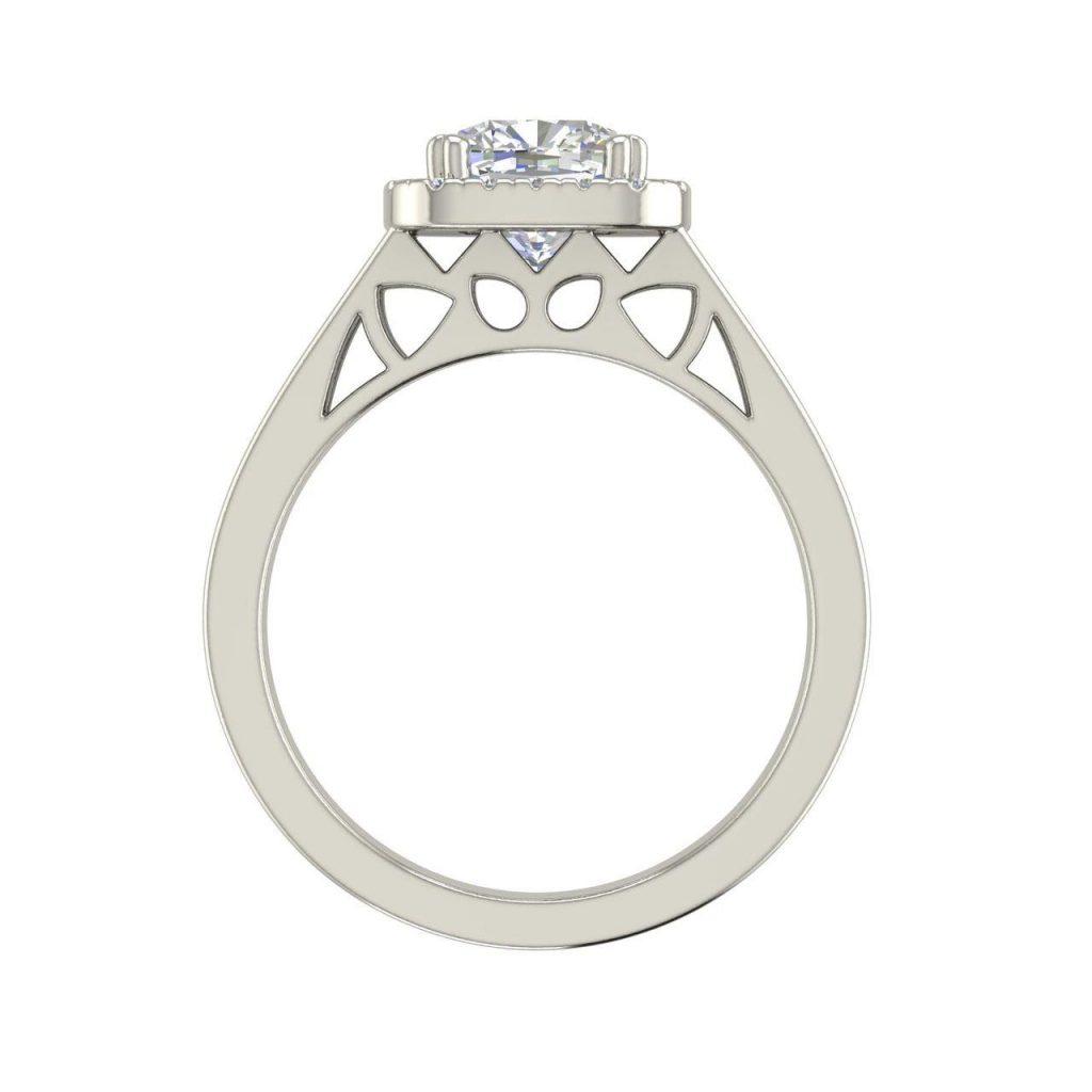 Halo Split Shank 1.25 Carat Round Cut Diamond Engagement Ring