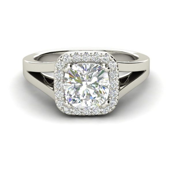 Halo Split Shank 1.25 Carat Round Cut Diamond Engagement Ring 2