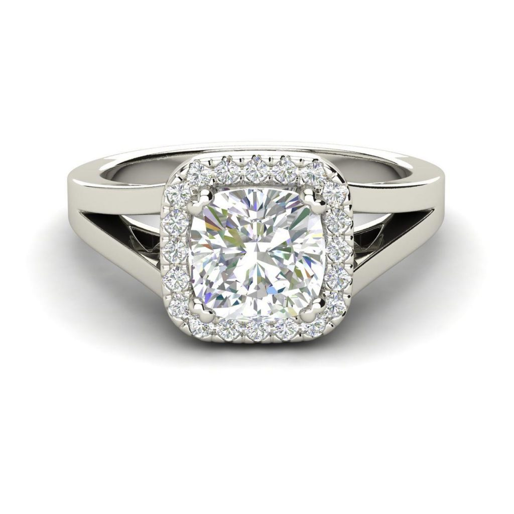 Halo Split Shank 1.25 Carat Round Cut Diamond Engagement Ring 2