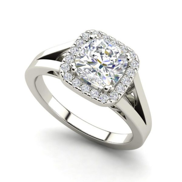 Halo Split Shank 1.25 Carat Round Cut Diamond Engagement Ring