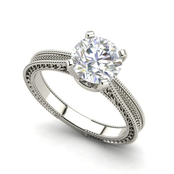 Hand Engraved Solitaire 0.5 Ct Round Cut White Gold Diamond Ring