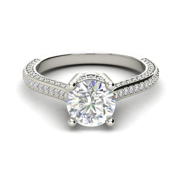Micropave 1.75 Carat Round Cut Diamond Engagement Ring 3