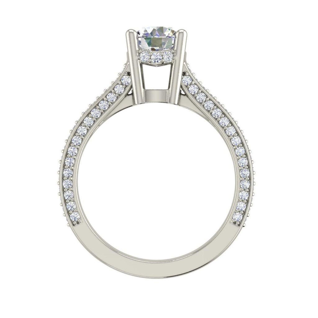 Micropave 1.75 Carat Round Cut Diamond Engagement Ring 3