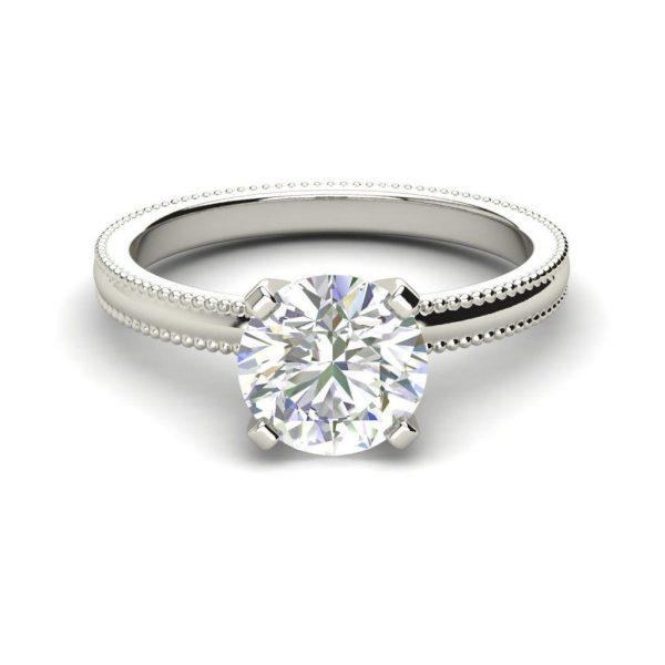 Milgrain Solitaire 0.5 Ct Round Cut White Gold Diamond Engagement Ring