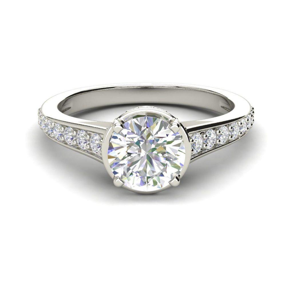 Pave 0.8 Carat Round Cut White Gold Diamond Engagement Ring