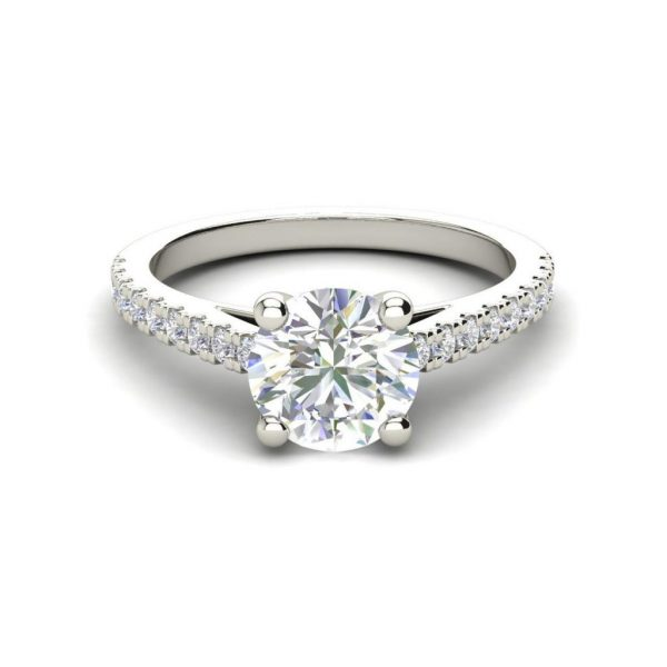 Pave Cathedral 0.75 Carat Round Cut Diamond Engagement Ring