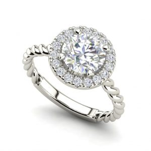 Pave Halo Twist 0.65 Carat Round Cut Diamond Engagement Ring