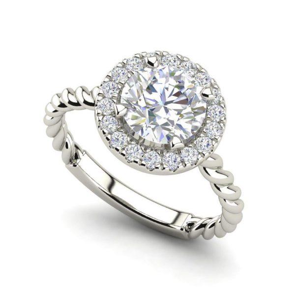 Pave Halo Twist 0.65 Carat Round Cut Diamond Engagement Ring