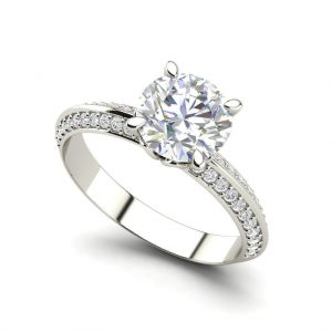 Pave Milgrave 0.85 Carat Round Cut Diamond Engagement Ring