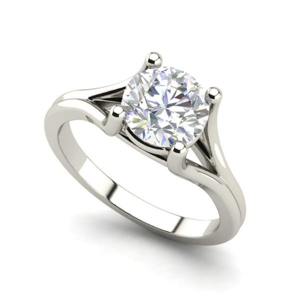 Round Cut 0.5 Carat Split Shank Diamond Engagement Ring