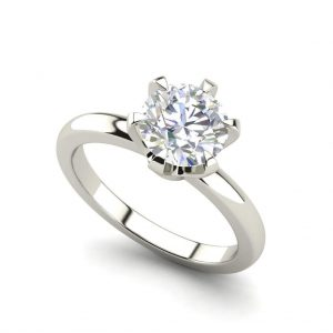 Round Cut Solitaire 0.5 Carat White Gold Diamond Engagement Ring