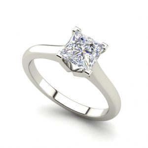 Solitaire 0.5 Carat Princess Cut White Gold Diamond Ring