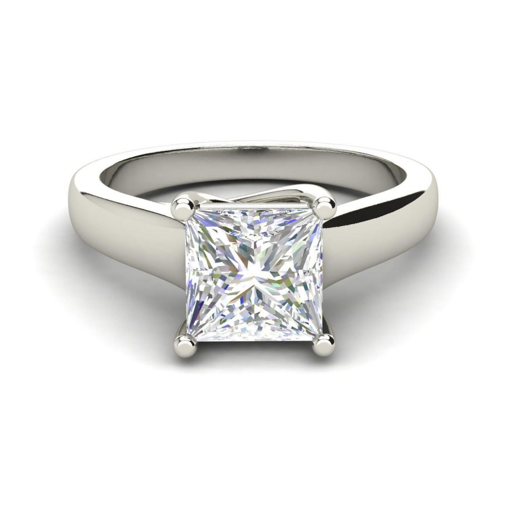 Solitaire 0.9 Carat Princess Cut Diamond Engagement Ring White Gold