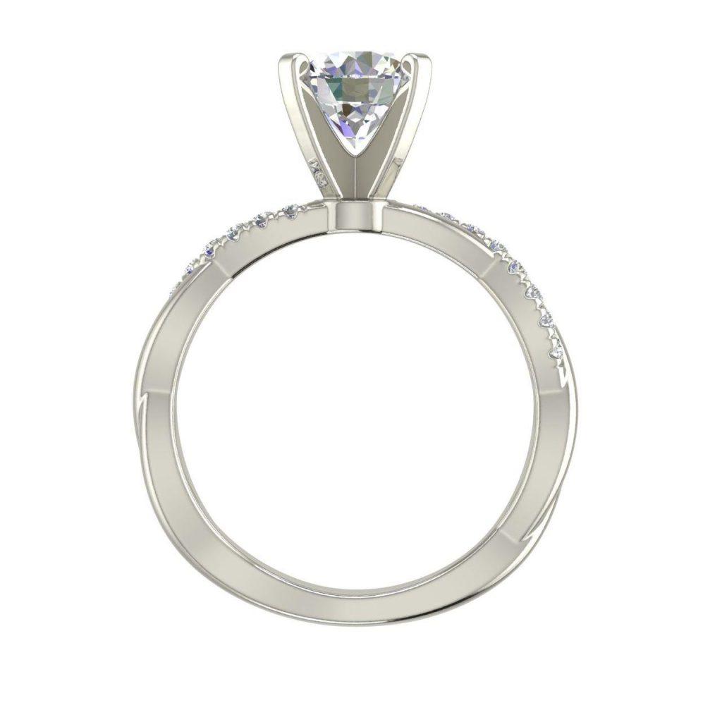 Twist 0.75 Carat Round Cut Diamond Engagement Ring