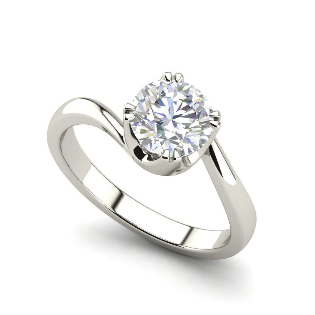 Twist Solitaire 0.5 Carat Round Cut Diamond Ring