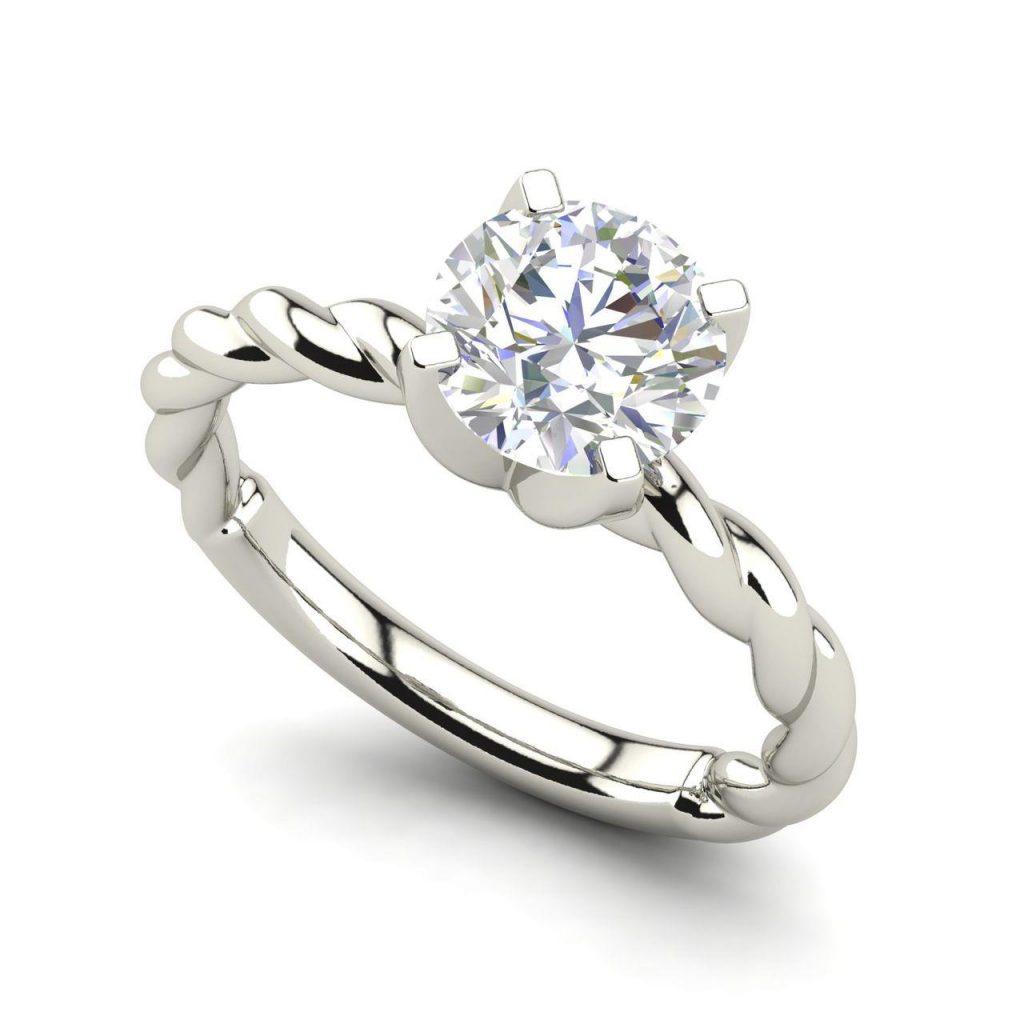 Twist Solitaire 0.5 Carat Round Cut White Gold Diamond Engagement Ring