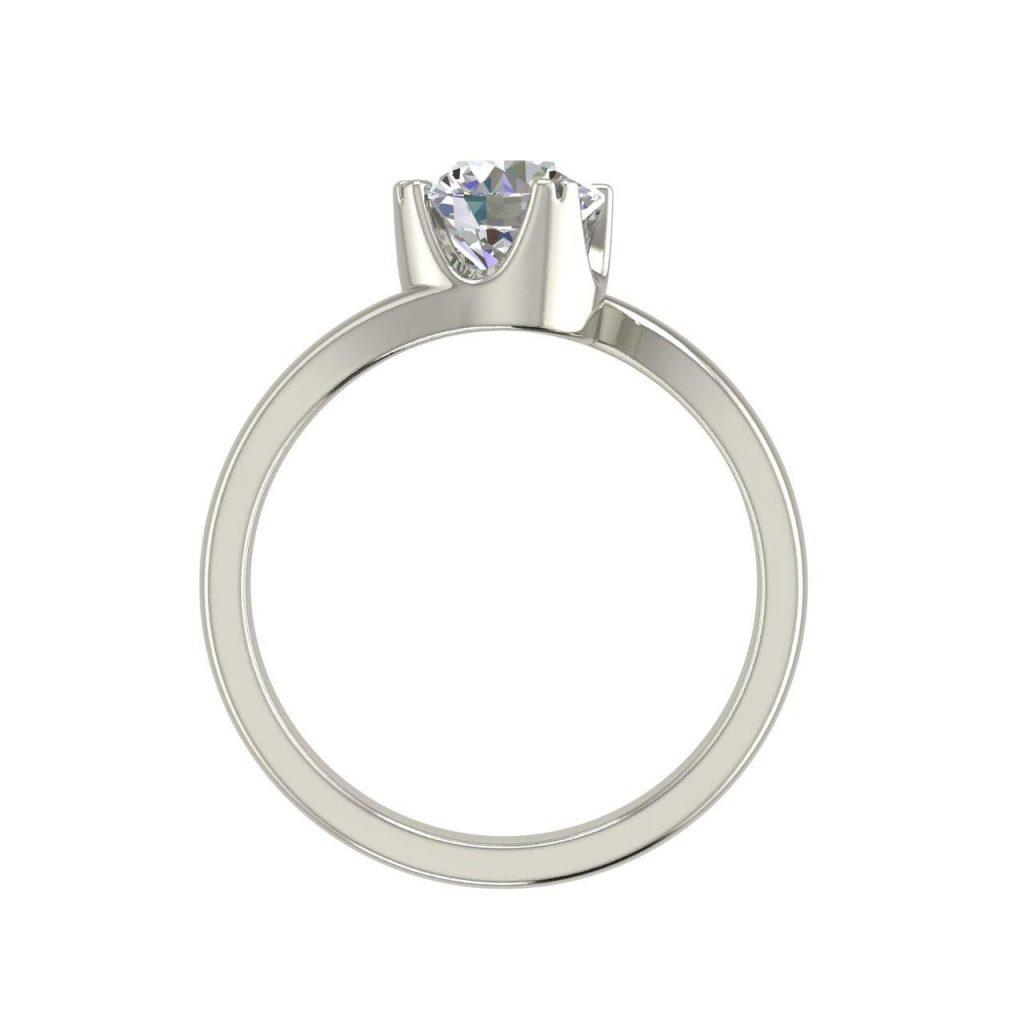 Twist Solitaire 0.5 Carat White Gold Round Cut Diamond Engagement Ring
