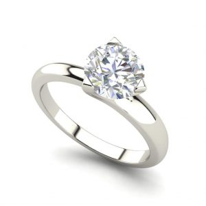 White Gold Solitaire 0.5 Carat Round Cut Diamond Engagement Ring