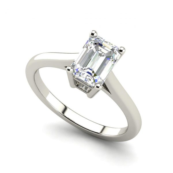 4 Prong 1 Carat Emerald Cut Diamond Engagement Ring